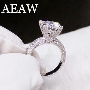 Solide 14 Karat Weißgold 3 ct 2 ct 1 ct Rundschnitt Df Moissanite Verlobungsringe Jahrestag Ring Moissanite Ring für Frauen S625