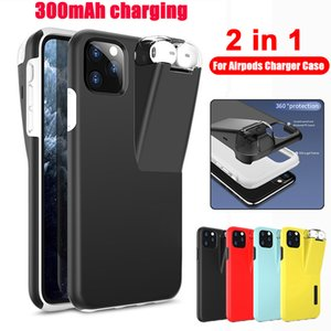 2in1 Hard Armor Phone Case 300mAh Portable Charging Box for Original AirPods 1 2 Charging Cover for IPhone XS 11 Pro Max Xr X 6 7 8Plus