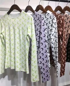 New Marine Serre grundiert Shirt Frauen 1: 1 beste Qualität 6 Farbe der heiße Verkauf Halbmond Tights-T-Shirts T-Shirts Marine-Serre T-Shir
