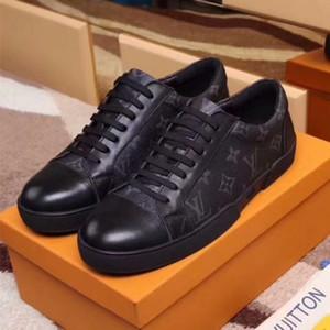 Moda 2020 Homens Mulheres Sapatilhas de couro sapatos casuais clássico Balck homens puros mulheres sapatos baixos com a caixa 38-45 101