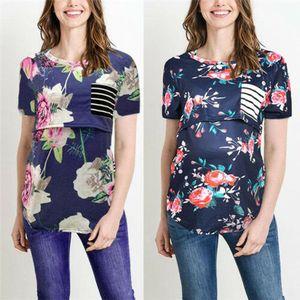 Moda Kadın Hamile Giyim Emzirme Çiçek Gebelik Hemşirelik T-Shirt