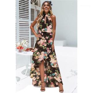 Bohemian Elbiseler Tasarımcı Halter Kolsuz Kasetli Kadın Elbiseler Seksi Elbise ile Fermuar Yaz Plaj Womens yazdır