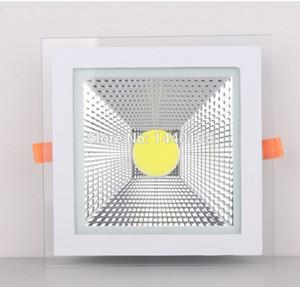 20pcs / lot Nouveau Design Surface de Verre 5W 10W 15W LED COB Slim Place Plafond Encastré Grille Downlight Flat Panel Light