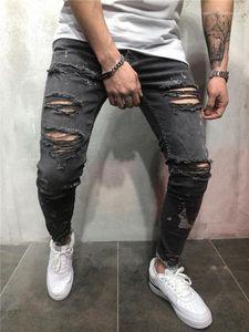 Pants New Desiginer Fashion Summer Hole Clothing Homme Zipper Pencil Pants Casual Apparel Mens Black Jeans
