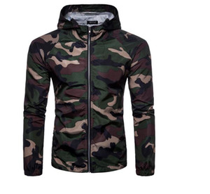 2019 New Fashion Men Camouflage Hooded Jacket Zip Sportwear Coat Outdoor Training Men Spring Fall Slim Fit Jacket Coat Army Green Outerwear