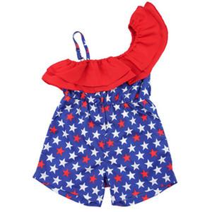 Çocuklar Sling fırfır Rompers Bebek Kız Giyim Amerikan Bayrağı Bağımsızlık Milli Günü ABD 4 Temmuz Kız Baskı Yıldız Kostüm