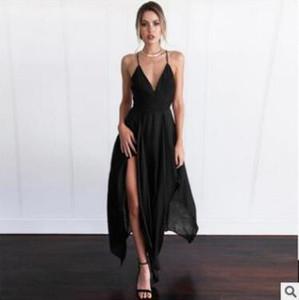 Sexy Summer Long Dress Women Maxi Dress Elegant Sleeveless Sling Vestido V Neck Evening Party