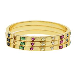 Бренд дизайн круг браслет золотой заполнены Радуга цвет mujer тонкий многоцветный cz манжеты браслет стек ювелирные изделия 2019 C190401