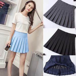 Gonna pieghettata Harajuku Preppy Style Solid Gonne Solid Gonne Mini Sveglia Giapponese Uniformi scolastiche Ladies Kawaii Gonna Grigio Blu
