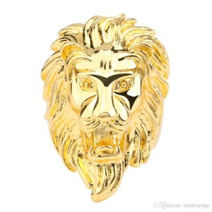 2018 hot sale Gold silver color Lion 's head Men Hip hop rings fashion punk Animal shape ring male Hiphop jewelry gifts