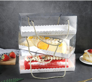 10PCS شفافة المحمولة لفة كعكة مربع لفة مربع منشفة السويسري كعكة الشيفون مستطيلة شحن مجاني