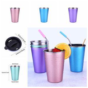 Vente en gros 5 couleurs bière thé jus lait tasse à café en acier inoxydable Drink Tumbler camping en plein air Voyage 500ml Tasse de paille DH126-2 T03