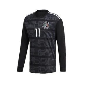 Manga larga 2019 Copa Mundial México Home Green Soccer Jersey México Camisa de fútbol de México # 14 Chicharito # 10 G.Dos Santos Camisetas de Futbol