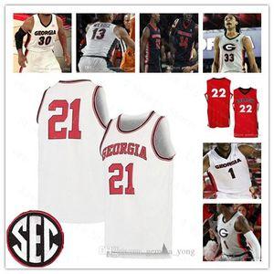 2020 Gürcistan Bulldogs Koleji UGA Basketbol Jaxon Etter Nicolas Claxton Jaxon Etter Harris Jaykwon Wilkins Dikişli NCAA Formalar Dikişli Ucuz