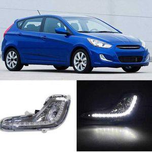 Hyundai Accent gündüz çalışma için 2 adet LED sis farı Solaris Verna 2010-2013 sis lambası sis lambası 12v aksesuarları ışıkları