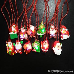 LED Christmas Light Up Flashing Necklace Children Kids Glow up Cartoon Santa Claus Pendant Party Xmas Dress Decorations