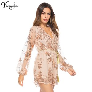 2020 Summer Hot Sexy bodysuit Women V Neck Sequins Jumpsuit Mesh Full Sleeve Clubwear Gold Black Party Romper Playsuit Overalls