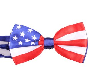 60pcs 10 * 12cm Renkli Amerikan Bayrağı Bow Tie Eğlence Ucuz Perfomance Dans göster Bow Tie Yeni ABD Moda Stil Premier Papyon