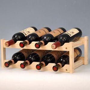 Casier à vin en bois massif décoration restaurant créatif armoire à vin bouteille rack de stockage LW0313542
