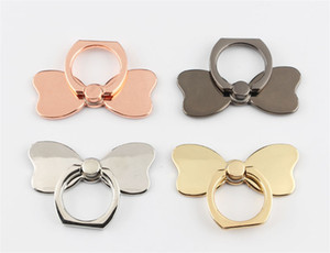 Universal Metal Bowknot Finger Ring Holder Plated Bow Tie Phone Stand For Samsung For Mobile Phones