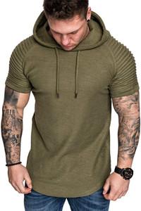 الرجال تي شيرت أزياء الصيف الطبيعية اللون مقنع T قميص قصير الأكمام عارضة تي شيرت ملابس رجالي