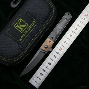 Mini Kwaiken Flipper Couteau N690 lame Titane Cuivre / marbre poignée CF fruits camping cuisine de chasse Couteaux outils EDC