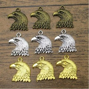 Eagle Head Charms 25PCS Lot 21*18mm Great Detailed Bird Pendants Charm Bracelet 3 Colors Available-WY1120