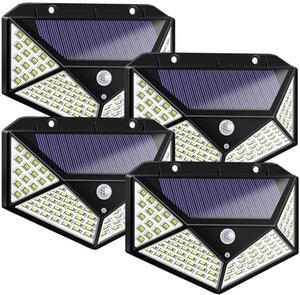 Outdoor Wall Lamps 100 LED Solar Light Outdoor Solar Lamp Powered Sunlight 3 Modes PIR Motion Sensor for Garden Decoration Wall Street