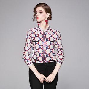 Осенние новые женские блузки рубашки, лацкан шеи с длинным рукавом леди и девушки печати рубашки, колени топы