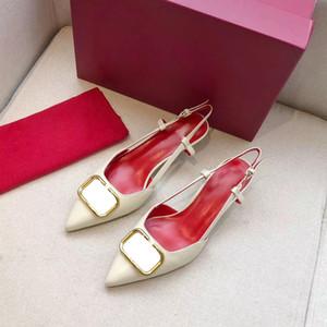La venta caliente-Designer letras acentuadas hebilla de cuero de alta zapatos de tacón de Patentes sandalias zapatos de las mujeres zapatos de tacón alto puntas de los pies zapatos de vestir 35-41 Bombas