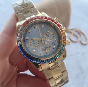 Элегантный бренд мужские часы роскошь горный хрусталь безель Алмаз 41 мм циферблат полный нержавеющая сталь группа секундомер кварцевые наручные часы для мужчин подарок