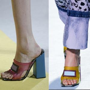 Box ile Kadınlar PVC Yılan derisi Sandalet Slaytlar Orta topuk Yüksek Topuklar Sandal Şeffaf PVC Terlik Sandal Kare Toe Kalın Terlik ABD 11