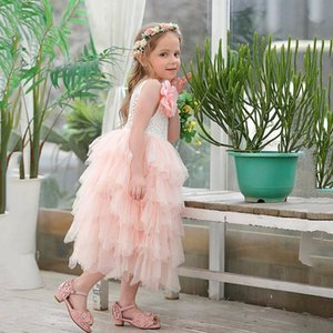 Retail Summer New Girl Lace Dress Princess Flower Tiered Tulle Mid-Calf Sundress For Wedding Party Children Clothing E17103