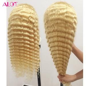613 del frente del cordón del cabello humano rubio miel pelucas brasileño de la Virgen Pelo rubio pelo de la onda profunda transparente de encaje frontal pelucas