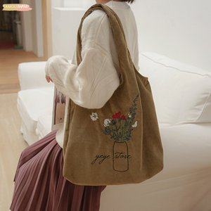 Ladies Corduroy Shoulder Bag Flowers Embroidery Female Literary Cloth Handbag Casual Tote Eco Simple Shopping Bags For Open Girls