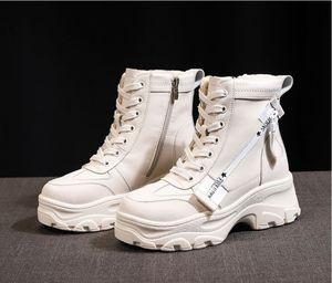 Hot-vente Chaussures Femme Automne Hiver Femmes Martin Bottes épais Croix-attaché à glissière latérale Martin Bottes Plateforme Casual Mujer Bottes de neige
