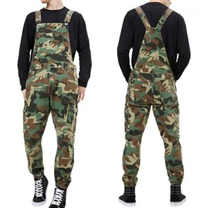 Male Rompers Washed Middle Waist With Pockets Long Pants Camouflage Mens Designer Overalls Summer Backless Casual Denim Jumpsuits