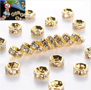 الجملة PIRCE الذهب والفضة حجر الراين كريستال Rondelle فاصل الخرز DIY صنع المجوهرات اكسسوارات 6MM 8MM 10MM سعر الجملة