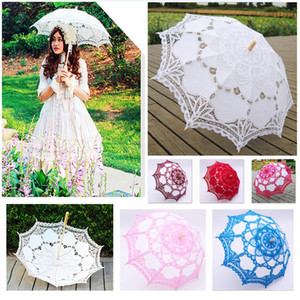 48cm Long handle lace Umbrellas Handmade Art wedding Bridesmaid gifts Embroidery Wedding Umbrella parasol Romantic Bridal WX9-1872