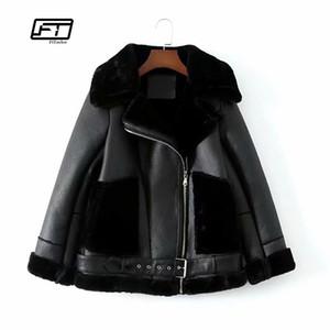 Fitaylor Donna Calda ecopelle in morbida pelle di agnello Giacca di lana Cappotti Bomber Moto Giacca di pelliccia punk Giacche casual allentate da donna