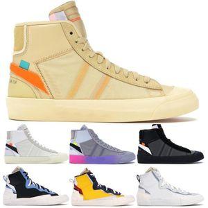 Del diseñador del Mens Blazers medio Zapatos ocasionales de los nuevos 2020 Off Negro Blanco Parca mujeres zapatillas de deporte Sacai Leyenda de la manera azul de los zapatos corrientes