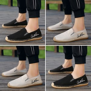 OUDINIAO Male Loafers Espadrilles Men Breathable Canvas Shoes Men Fashion 2019 Soft Sole Slip On Mens Shoes Casual Hemp Wrap