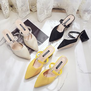 2020 Summer Sandals Dress Party Shoes Knitted Upper High Heel Slipper Women's Mules Ladies Pointed Toe Chunky Heel black yellow T200529