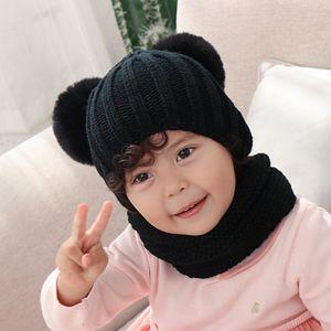 Kids Knit Hat Scarf Set Fashion Winter Pom Pom Knitted Beanie Hats Woman Crochet Scarves Outdoor Warm Ski Caps TTA1827