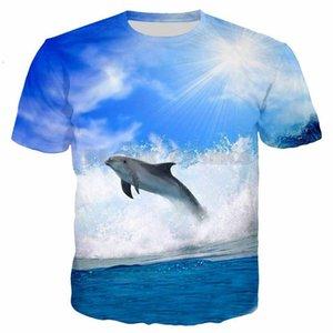 2019 новый PLstar Cosmos Print 3D дельфины прыгать в море футболки мужчины / женщины животных тройник мода уличная одежда топы 5XL