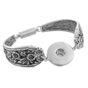Interchangeable Charm Bracelet 18MM Noosa Ginger Snap Buttons Bracelet Vintage Silver Bracelets Women Fashion Girl DIY Flower Bangle Jewelry