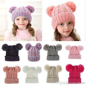 Kid Knit Crochet Beanies Hat Girls Soft Double Balls Winter Warm Hat 12 Colors Outdoor Baby Pompom Ski Caps dc814