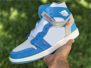 2020 Authentic 1 zapatos de alta UNC baloncesto del hombre blanco Universidad de Chicago Off azul oscuro polvo Cono Azul 1S Negro Varsity Red zapatillas de deporte 5-13