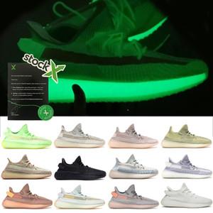 Las mujeres los zapatos diseñador de los hombres v2 zapatilla de deporte de las zapatillas de running con la caja del tamaño grande de 13 para hombre de los zapatos corrientes Lundmark arcilla hiperespacio White Cloud Negro estático