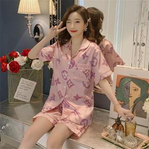 2020 Yüksek dereceli 2 adet Suit Mizaç İlkbahar ve yaz buz ipek pijama kadın Kore kısa kollu pantolon gevşek ipek iki parçalı takım elbise 1